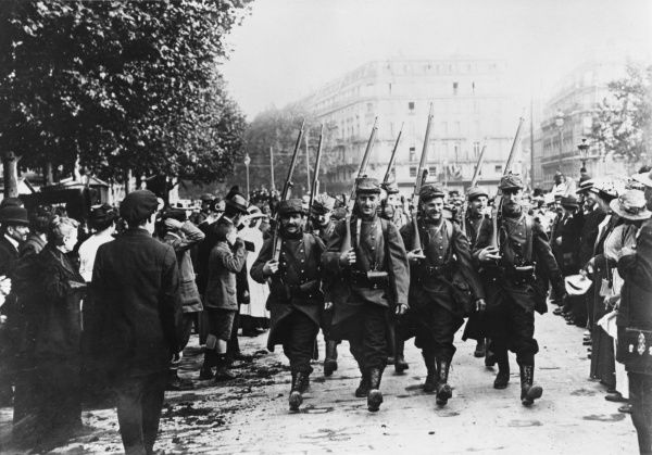 French troops march off to war during World War I