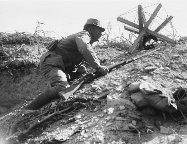 French soldier from the Corps Expeditionnaire d'Orient looking over the side of a communication trench during World War I