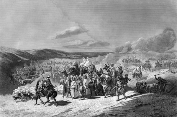 The duc d'Aumale, in command of the French forces, returns in triumph through the plain of Mitidja, after the taking of the smala of Abd-el Kader. Date: May 1843