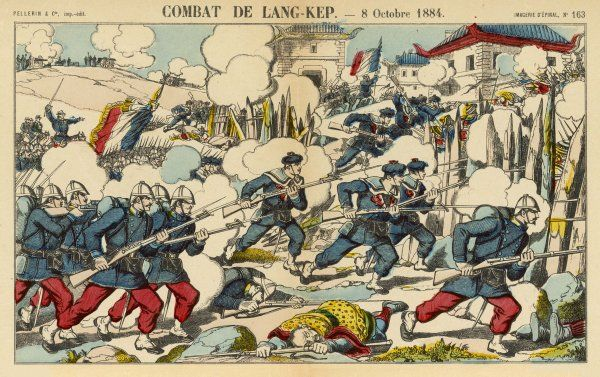 FRENCH IN TONKIN French soldiers and sailors under general Negrier take the town of Lamg-Kep : Chinese losses were very heavy, including several mandarins
