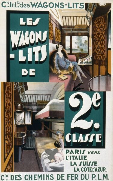 Poster advertising the French National Railways Wagon-Lits (sleeper train) service to Switzerland, Italy and the Cote d'Azur and giving us a fascinating glimpse at the typical interior of a cabin in second class complete with beds, vanity cabinet