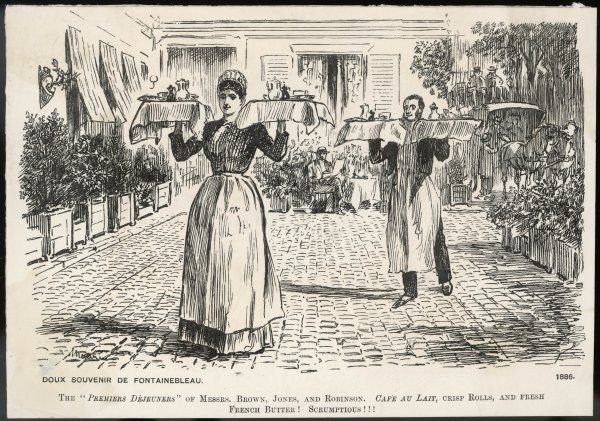 A trim waitress & smartly turned out waiter walk across a paved yard each bearing a fully laden tray in each hand carried at shoulder level