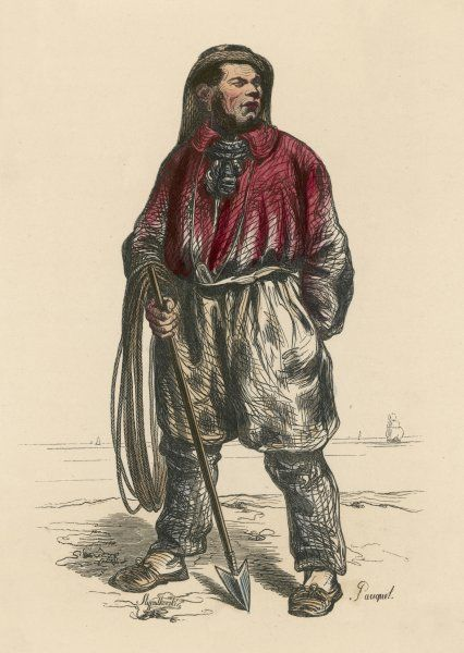 French whaler standing with his rope and harpoon