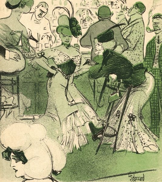 A lively bar scene with two women discussing their intake of absinthe. Date: 1906