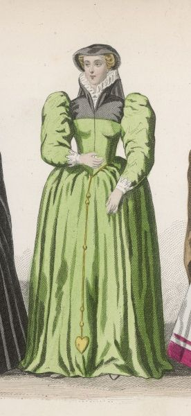 Lady of the period of Henri II, with a high lace collar to her full green gown