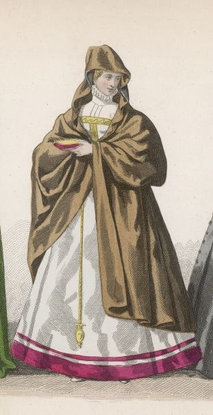 Lady of the period of Henri II, with a hooded cape over her high-necked gown