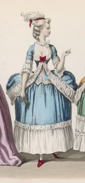 On the eve of the Revolution, this aristocrat wears a gown with absurdly exaggerated hips, contrasting with her narrow waist and low cut bodice
