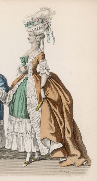Frills and tucks galore on this impractical gown, worn by a lady of Louis XVI's court shortly before the Revolution