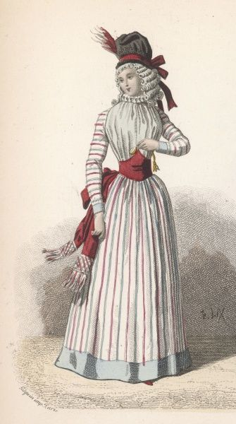 The Revolution brings in a revolution in women's fashions - yet this simple dress is tasteful, and ornamented with ruff and sash
