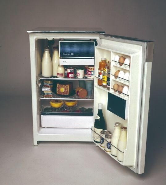 A well-stocked fridge, full of dairy products, fruit juice, a ham and egg pie, yoghurt, eggs, wine and even grapefruit in dishes
