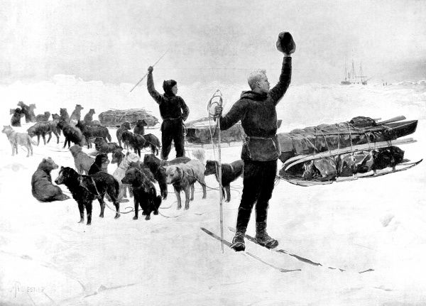Illustration showing Fridtjof Nansen and Hjalmar Johansen waving goodbye to the 'Fram' as they set out in an attempt to reach the North Pole on skis, March 1895