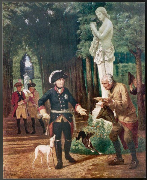 FRIEDRICH II der Grosse (the Great) King of Prussia A petitioner hands him a letter
