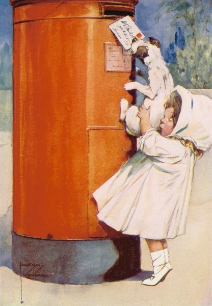 Humorous illustration showing a little girl helping a small terrier dog to reach up to post a letter