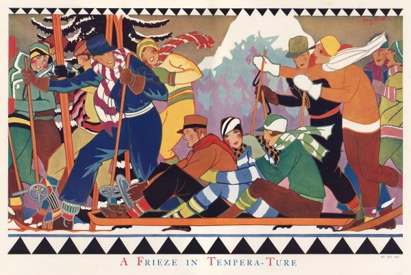 A wonderfully vivid and jolly 'frieze' like illustration (hence the pun-like title) featuring a group of mae and female skiers and winter sports enthusiasts dressed in bright clothes and woollen scarves, ready for fun in the snow. Date: 1930
