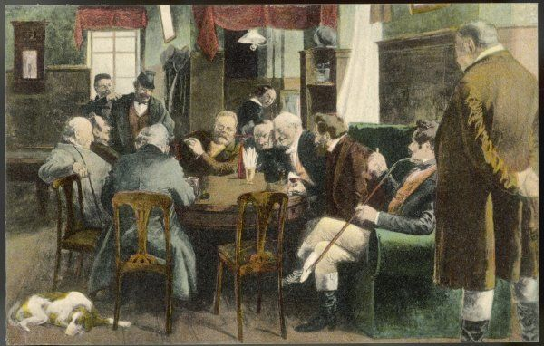 FRITZ REUTER depicted among his stammtisch - his regular cronies - in the village inn; he is best known for tales of village life, and doubtless they supplied the material