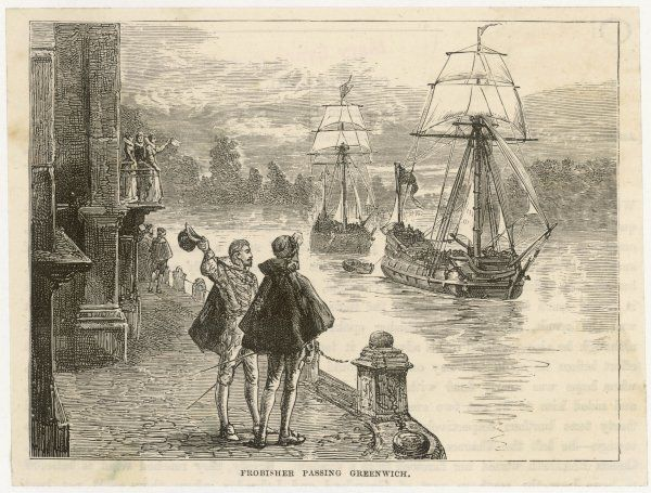 Martin Frobisher sails down the Thames, passing Greenwich Palace, on his expedition in search of a north-west passage