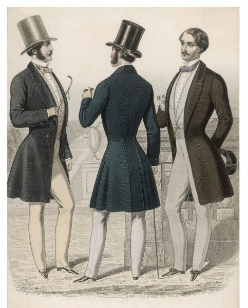 Three French gentlemen in frock coats with minor variations. A view is also given of the seams & vents at the back. Also trousers, shoes with bows, bowties & top hats