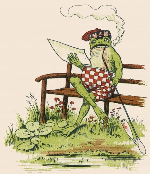 A sick frog recovers to smoke his pipe again!