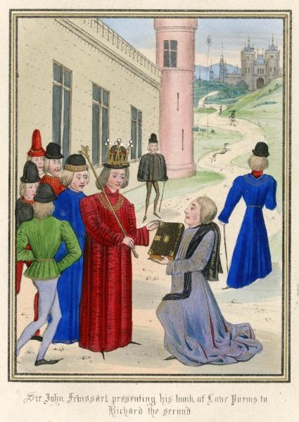 Jean Froissart presents a book of love poems to Richard II