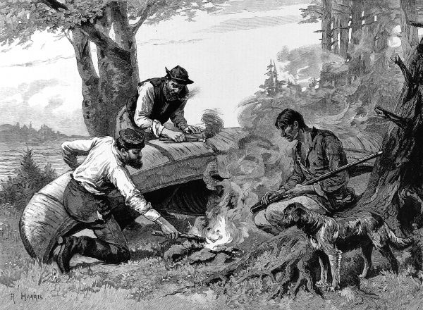 Engraving of three frontiersmen mending their canoe with hot wax or gum, in the Canadian back woods
