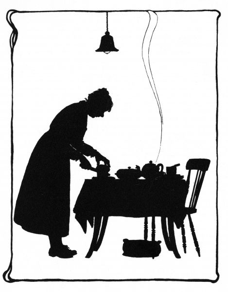 Frontispiece design showing Mrs Bobbity standing at the table, getting the tea ready. Date: 1937
