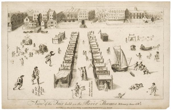 A view of the Frost Fair held on the Thames. The stalls formed 'Friezland Street' alias Blanket Fair and included a Tavern, Coffeehouse and Weavers