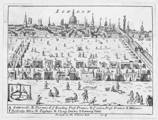 A frost fair on the Thames which was frozen from 24 November 1715 until 9 February 1716