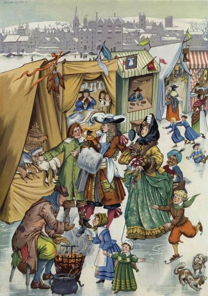 Illustration painted for Holly Leaves by Pauline Baynes showing Londoners in 1683-4 enjoying the delights of the Frost Fair on the frozen River Thames. The ice was so thick that market stall, traders and entertainers were able to ply their wares