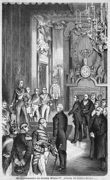 A deputation invites Friedrich Wilhelm IV of Prussia to become Kaiser. He refuses, though in 1871 his successor, Wilhelm I, will show himself less modest