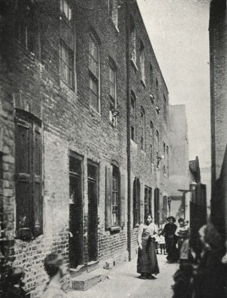 A view of Frying Pan Alley, a narrow thoroughfare in the Spitalfields area of London's East End
