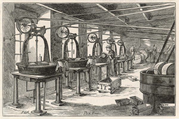 Part of the chocolate manufacturing process: the pan room in the Fry's chocolate factory in Bristol