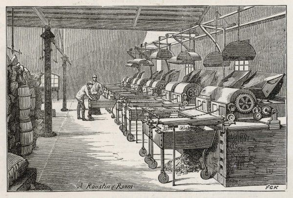 A roasting room in the Fry's chocolate factory in Bristol