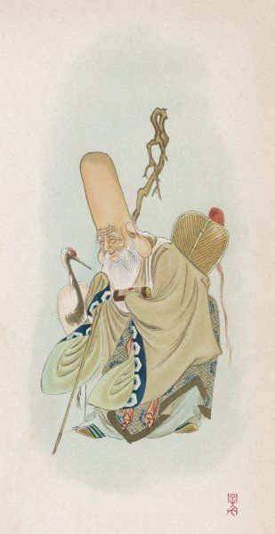 The elongated head of the god of Good Fortune and Wisdom is due to his years of study, during which he acquired so much knowledge that he needed extra room to store it