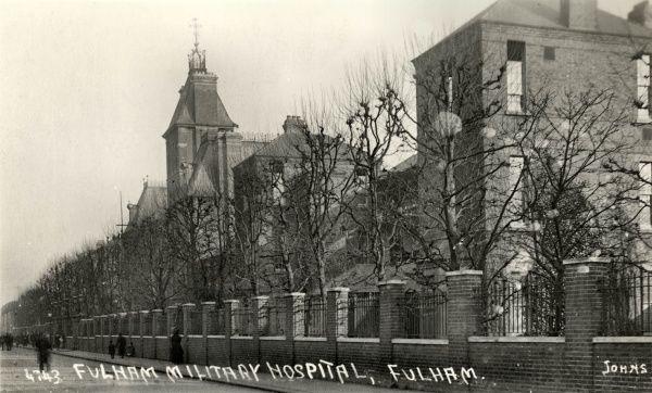 The First World War Fulham Military Hospital was located in the infirmary of the Fulham workhouse on St Dunstan's Road, Fulham, south west London