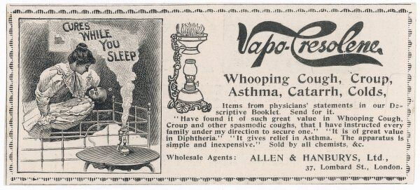 A vapour-releasing contraption '..great value in Whooping Cough, Croup and other spasmotic coughs. It is of great value in Diptheria... simple and inexpensive&#39