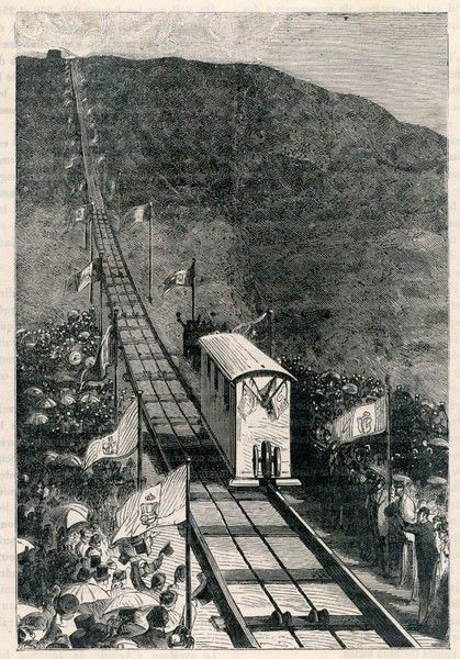 The opening of the funicular on Vesuvius is celebrated by large crowds