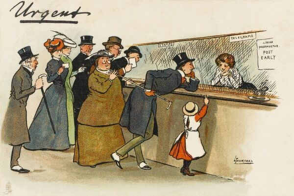 A superb humourous postcard depicting a young man taking a long time over his telegram, which has a lot to do with the pretty young girl behind the counter. The rest of the people waiting their turn are not amused at his flirtation!