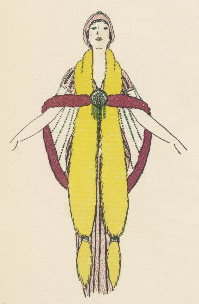 A fur-trimmed short cape with rows of beads fastened with a Chinese style medallion with tassels across a long fur stole