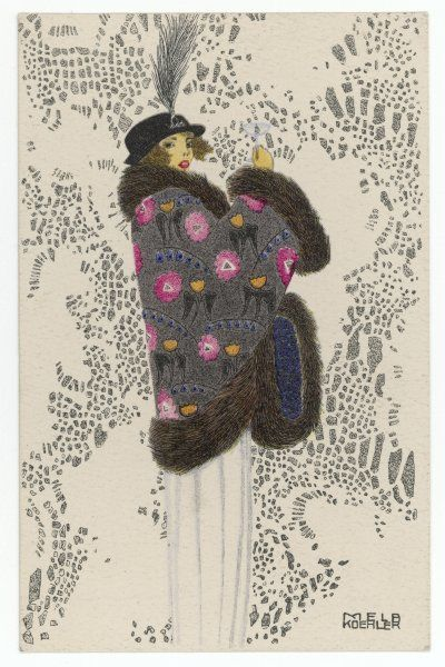 A pretty brunette wears a fur- trimmed mantle in a vibrantly coloured floral print & a small hat with a narrow brim & aigrette