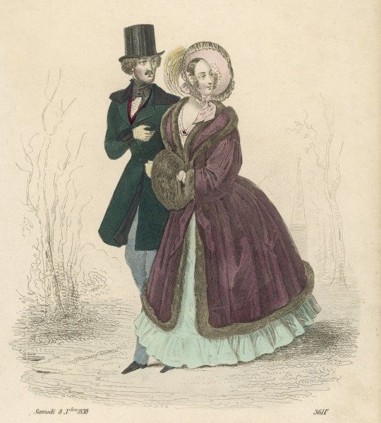 Man: green frock coat, black velvet collar & cuffs. Woman: sable muff, burgundy silk pelisse trimmed with sable, green silk twill dress with a single flounce & bonnet