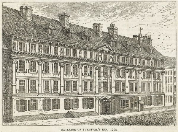 Exterior of Furnival's Inn in the eighteenth century