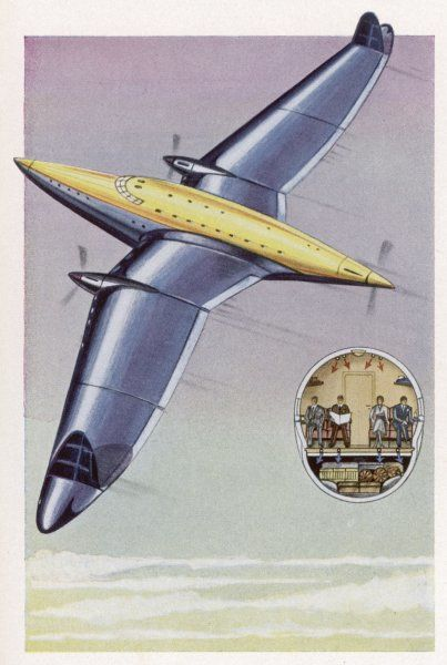 Tomorrow's air liner, though it still has propellors, is very advanced in design, with wingtip fins rather than tailfin and rudder, Baggage is stowed beneath passengers