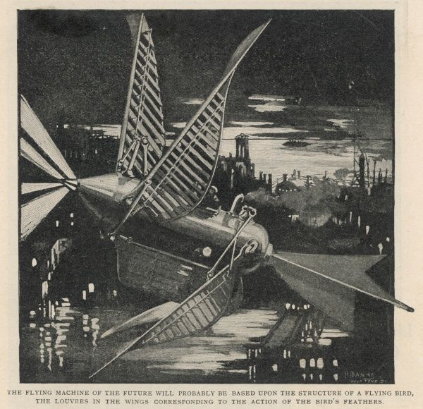 Two years before the Wright brothers' flight, illustrators were already predicting that flying machines like this would be among things to come