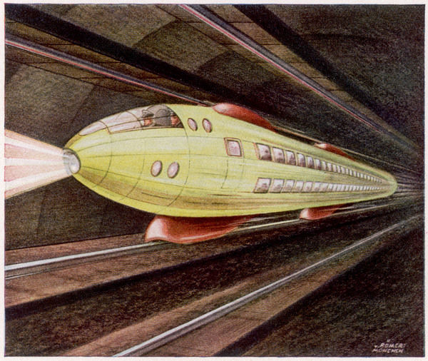 Most predictions of future railways presuppose a monorail, as in this German proposal