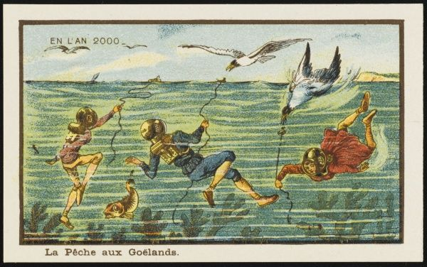 Futuristic gull hunters. They are in diving gear below the water, trapping the gulls by floating food on the surface