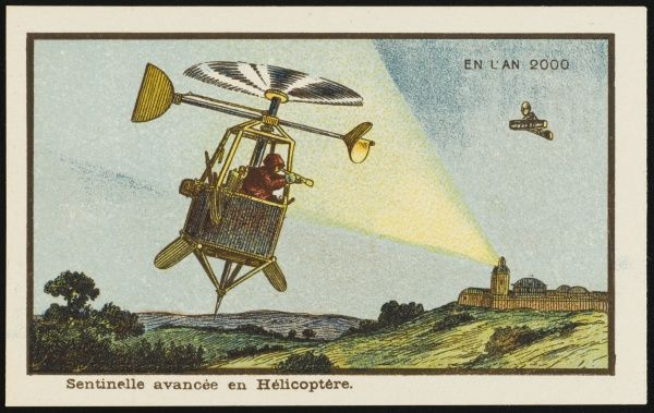 A futuristic scene showing a helicopter pilot with a telescope, acting as a sentinel of the skies. A beam of light shines on him from a distant tower