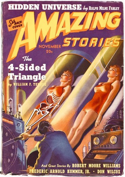 THE 4-SIDED TRIANGLE, by William F Temple. A scientist clones the body of a young woman in his laboratory in this futuristic science fiction magazine cover
