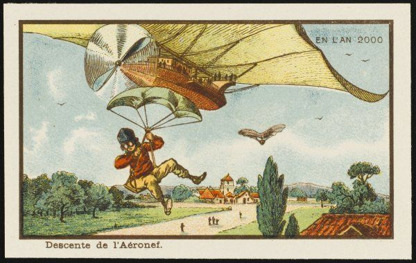 A futuristic scene showing a pilot leaving his airship by parachute