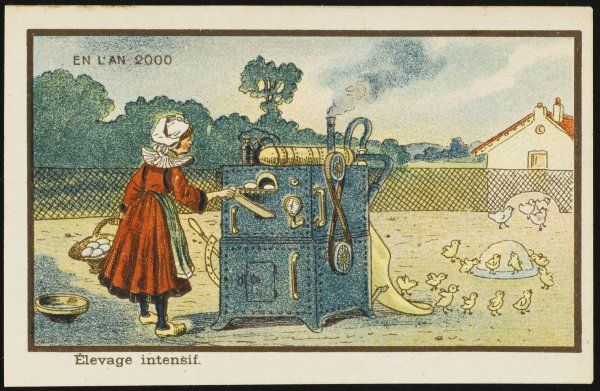 An example of futuristic poultry farming, using a machine with various controls, and smoke coming out of a little chimney