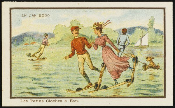 Futuristic water skiers taking a turn round a lake. The lady in the foreground is pulling a small boat containing a dog